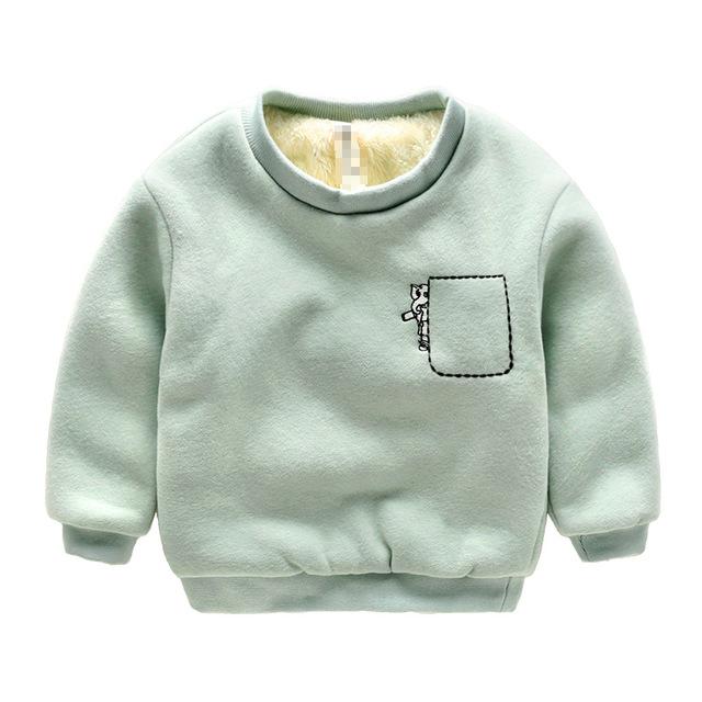 2016 de Inverno Crianças Além de veludo com capuz Grosso de algodão Moda Bebê das meninas Dos Meninos T camisa Cashmere Quente crianças hoodies roupas