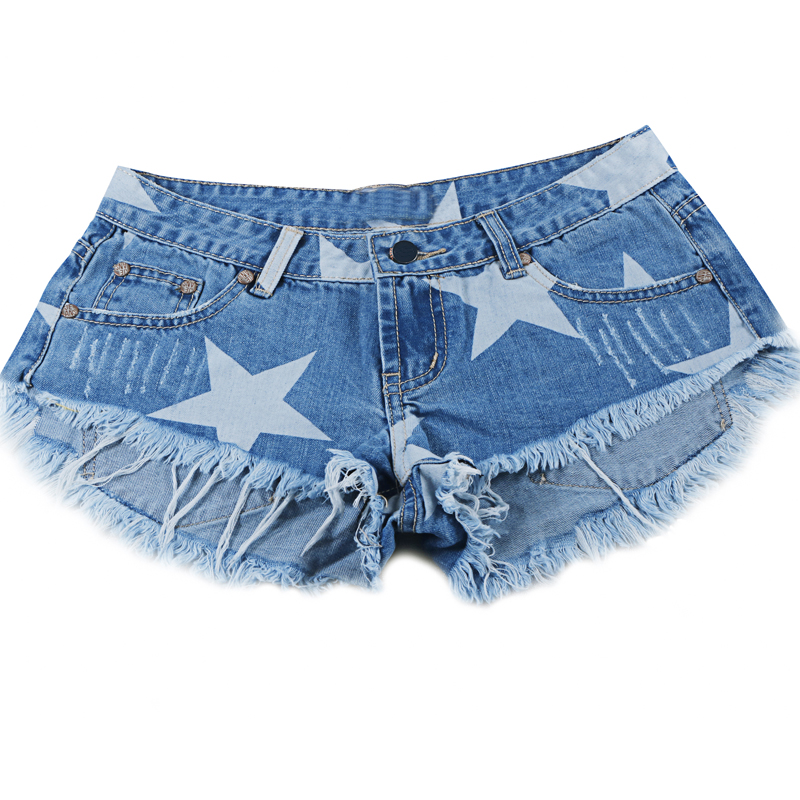 Stars Print Women Shorts Fashion Frayed Tassel Denim Shorts Washed