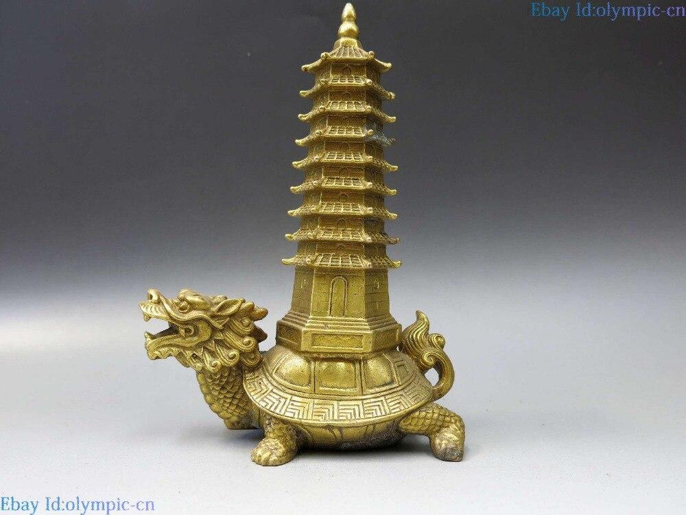 Sculpture en laiton de chine sculpté fine Statue de tortue de Dragon pagode Feng Shui en cuivre