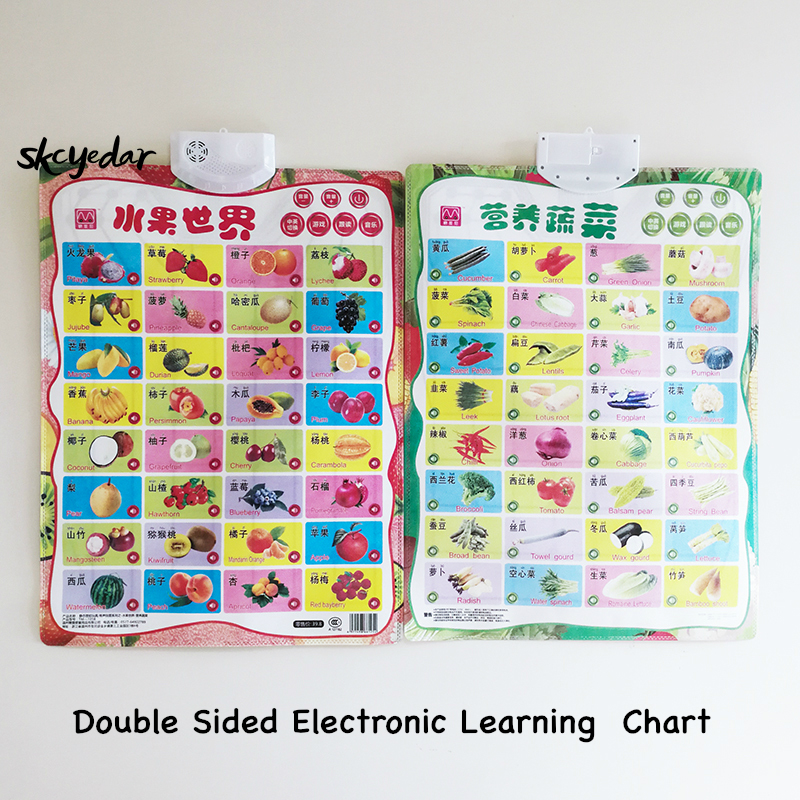 Electronic Learning Bilingual Chart Vegetables& Fruits(Double Sided) English&Chinese Early Education Wall Poster  16.5x22In