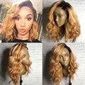 Боковая часть ломбер #1bT27 человеческих волос парики Бразильский волнистые full lace человеческих волос парики для чернокожих женщин девы бесклеевой кружева перед парик