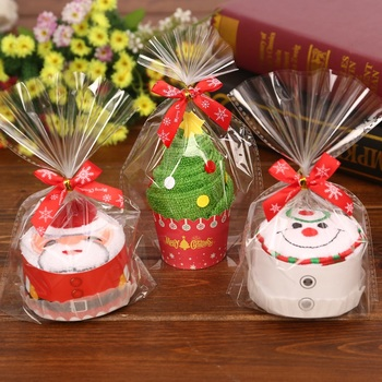 30x30cm prezent na Boże Narodzenie ręcznik choinka święty mikołaj boże narodzenie bałwan biały zielony czerwony każda torba tanie i dobre opinie Christmas Gift Towel 0 06