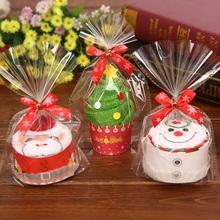 30x30cm prezent na Boże Narodzenie ręcznik choinka święty mikołaj boże narodzenie bałwan biały zielony czerwony każda torba tanie tanio Christmas Gift Towel 0 06