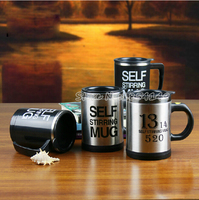 1pcs Automatic Plain Mixing Coffee Tea Cup 304 Stainless Steel 300 350ml Two Types Lazy Self