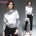 Blusas flojas de las mujeres elegantes de manga larga blusa de la gasa tops casual camisa de impresión de la vendimia mujeres clothing partido camisa casual