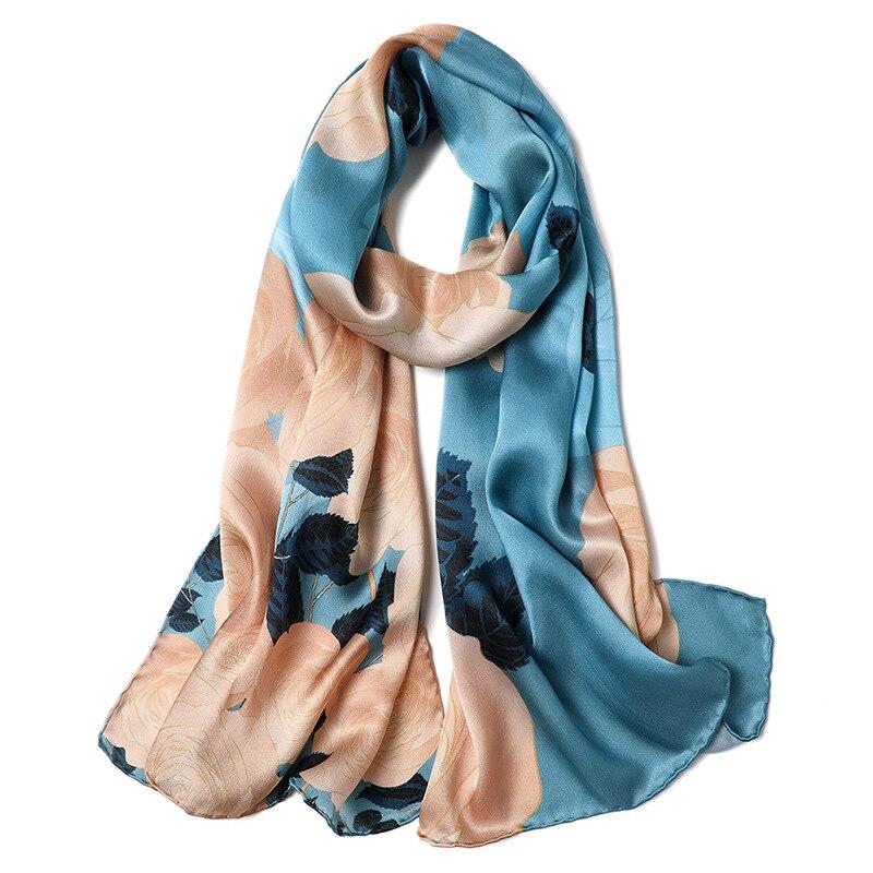 2019 Luxury Long 100% Silk Scarf Wraps Shawl Foulard Top Grade Hand Rolled Edges 170x53cm