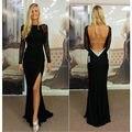 Chiffon Lace Beaded High Neck Split Black Mermaid Long Sleeve Evening Dresses Vestidos De Gala 2016 Backless Court Train 59710