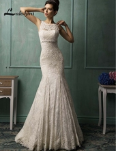 Exquisite Jewel Lace Mermaid Wedding Dresses Custom Made White Ivory Court Train Low Back Bridal Gowns