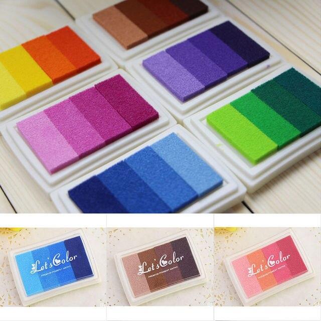 Multi Color DIY Oil Gradient Stamp Set Ink Pad Inkpad Craft Paper Wood Fabric 6 Colors