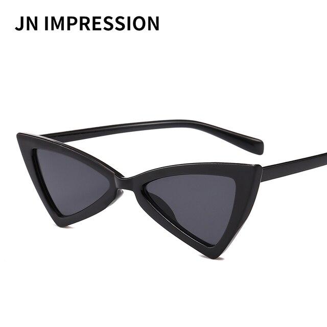 f1223be41e079 J N bonito sexy retro cat eye sunglasses mulheres preto pequeno branco 2018  do vintage triângulo KD9789