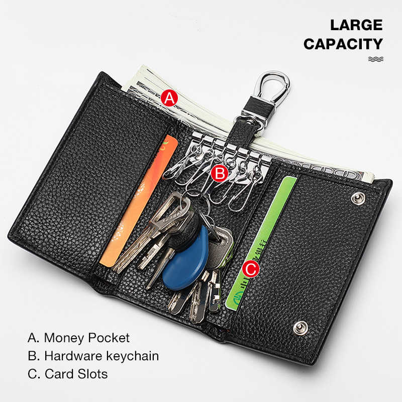 Laorentou Marke Männer Einzigartige Schlüssel Halter Echtes Leder Zipper Schlüssel Kleine Fall Tasche Tasche Männer Schlüssel Brieftaschen Vintage Business Männer