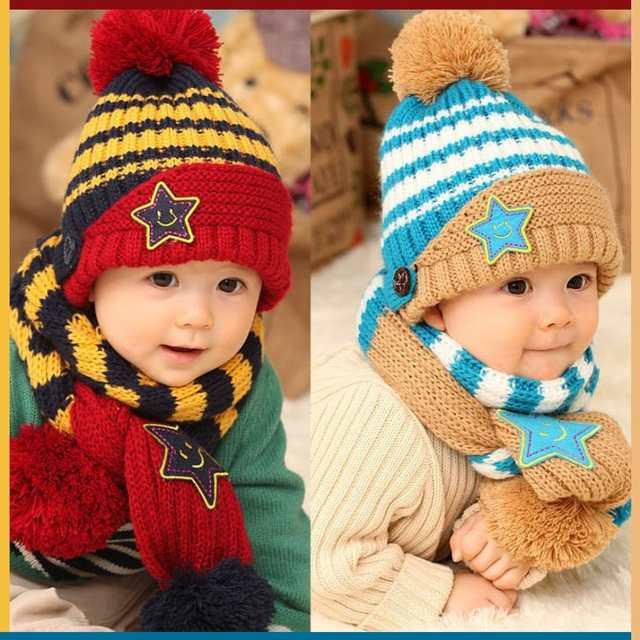 placeholder 2018 Fashion New Winter 5-Star Children Skullies   Beanies  Scarf Hat Set Baby Boys 213cad19d84b