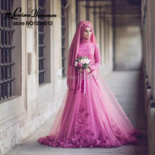 Vintage 3D Flower Wedding Dresses 2017 New Light Plum Muslim Vestido De Noiva Full Sleeves Hijab Bridal Gowns High Collar Beaded
