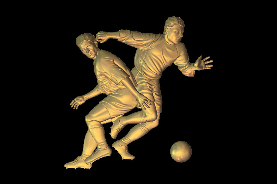 3D Model Football With Athletes Relief Statue For CNC Router Artcam Aspire Type3 STL Format File M453