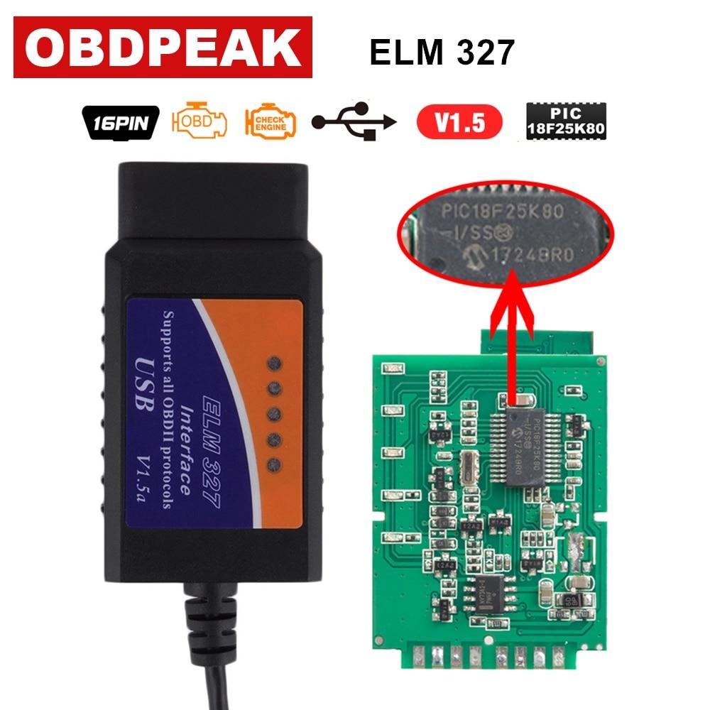 ELM327 USB V1.5 Scanner Pour Ford Focus ELM327 V1.5 OBD OBDII Câble De Diagnostic 100% PIC18F25K80 Puce