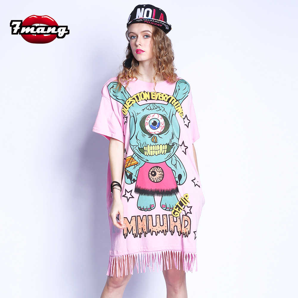7mang 2018 summer women street casual cartoon eye printing straight dress  short sleeve fashion loose fringe 5c8c13edc2b5