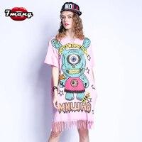 7mang 2018 summer women street casual cartoon eye printing straight dress short sleeve fashion loose fringe pink tee dress