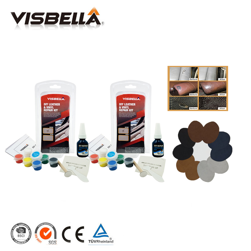 Visbella 2pcs Car Seat Leather Vinyl Repair Kit Auto Sofa Coat Holes Scratch Cracks Rips Liquid with 10pcs Patch