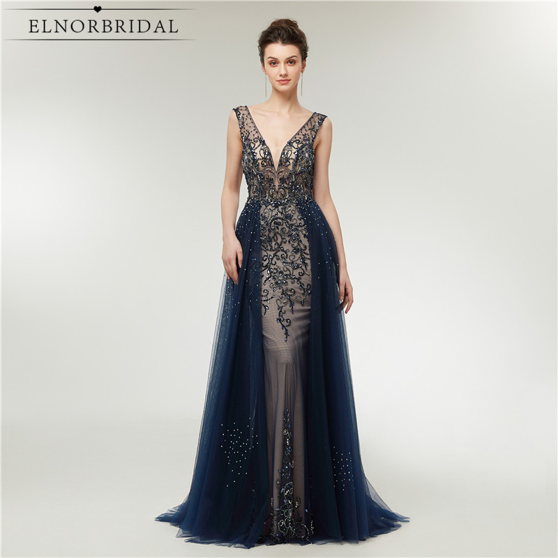f07ee680ed9 Sexy Navy Mermaid Evening Dresses 2019 Detachable Train Deep V Neck Formal  Women Occasion Dress Beading