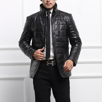 Autumn Winter New Silm Brand Genuine Leather Soild Colour Dimensional Design Leather Coat High Quality Leather