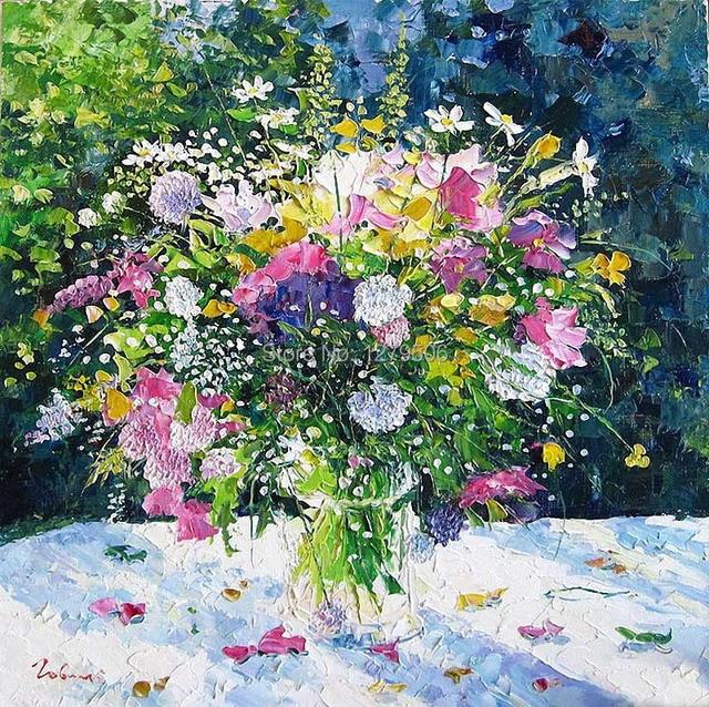 Abstraite A La Main Belle Pot Fleur Art Peinture A L Huile Sur Toile