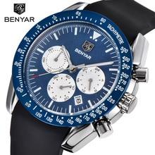 2019 BENYAR Men Sport Watch Chronograph Quartz Watches All Pointers Work Waterproof Fashion Blue Watch Clock RelogIo Masculino цена и фото