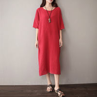 Solid Red White O Neck Short Sleeve Women Dress Brand Design Casual Midi Long Dress Vintage