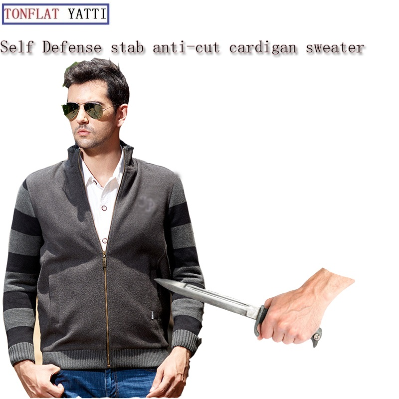 Self Defense Stab-resistant Stab Tactical Gear Plush Sweater FBI Fashion Cardigan Flexible Hidden Style Protective Clothing 2019