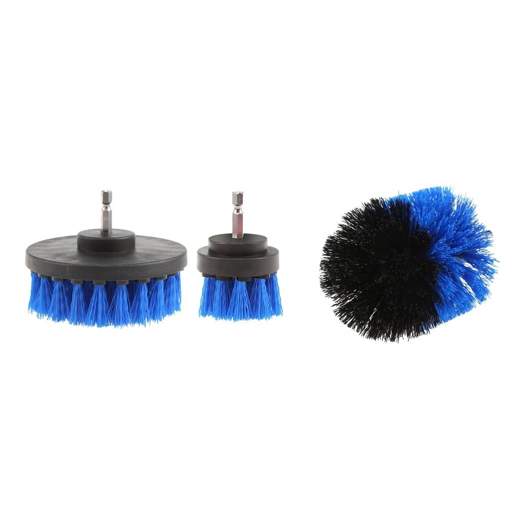 Blauwe Elektrische Boor Cleaning Nylon Borstel Ronde Borstel Voor Tapijt Glas Autobanden Borstels Scrubber Boren 3 Stks/set Aantrekkelijk En Duurzaam