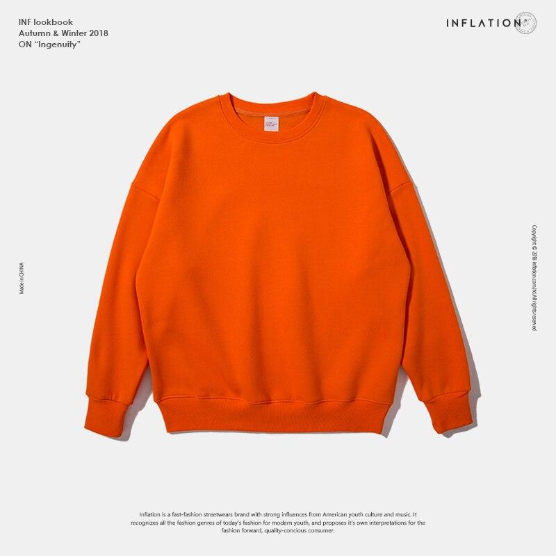 INFLATION Winter Mens Hip Hop Multi-colour Hoodies Velvet Fabrics Fleece Sweatshirts 8 Solid Color Winter Men Sweatshirts 166W17 18