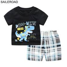 hot deal buy saileroad dinosaur tracksuits for boys clothing sets summer children outfis clothes sandbeach vacation kids costume suits