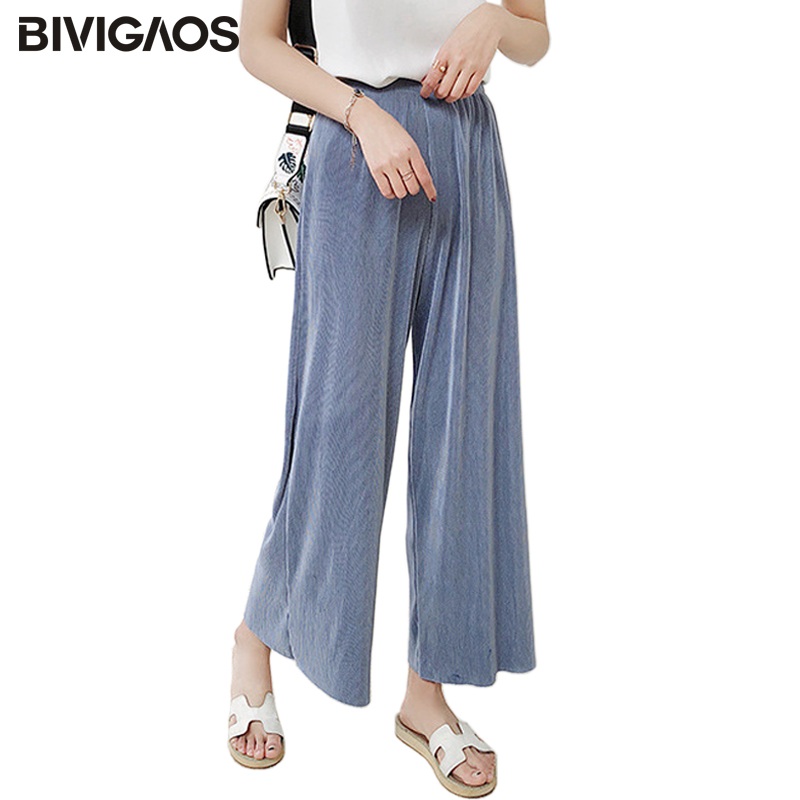 BIVIGAOS 2018 Womens Summer Pleated High Waist   Wide     Leg     Pants   Chiffon Casual Loose   Pants   Cropped Trousers Women Culottes   Pants