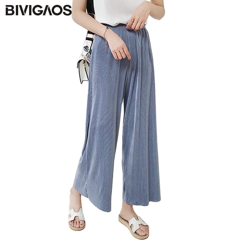 BIVIGAOS 2018 Womens Summer Pleated High Waist   Wide     Leg     Pants   Chiffon Casual Loose   Pants   Cropped Trousers Women Culottes   Pants