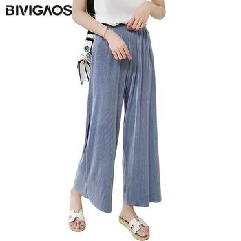 88956c55d6 BIVIGAOS 2018 mujeres de verano plisado cintura alta pantalones de pierna  ancha de gasa Casual pantalones sueltos Pantalones mujer Culottes Pantalones