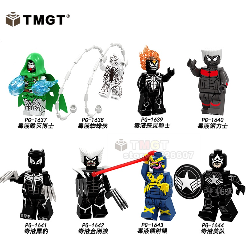 50pcs/lot Building Blocks Legoings Marvel Super Heroes Venom Panther Spiderman Ghost Rider Action Figure Brick Toys For Children To Enjoy High Reputation In The International Market Model Building