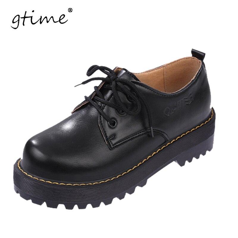 GTIME բրիտանական ոճի կանայք Oxfords New Spring - Կանացի կոշիկներ