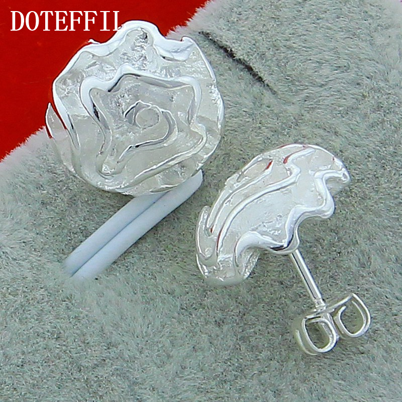 Wholesale Fashion Jewelry 925 Sterling Silver Stud Earrings Charm Woman Earrings High Quality Silver Rose Earrings Free Shipping