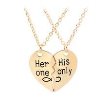 2 предмета «ее одной его только» 2017 День Святого Валентина надписи Ожерелья для мужчин Мода разбитое сердце Подвеска Пара Ожерелья для мужчин для любители Подарки
