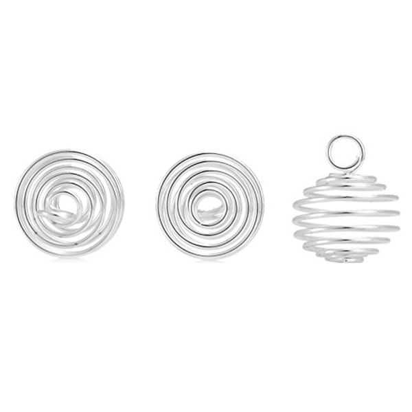 50PCs Silver Spiral Bead Cages Pendants Jewellery Making Crafting 18mmx15mm