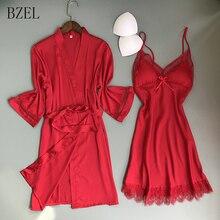 BZEL Women Casual Lace Lingerie Nightwear Underwear Robe Babydoll Slee