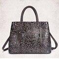 New Arrival Women Genuine Leather Messenger Bags Embossing Design Ladies Office Casual Shoulder Bag Luxury Cowhide Tote Handbag
