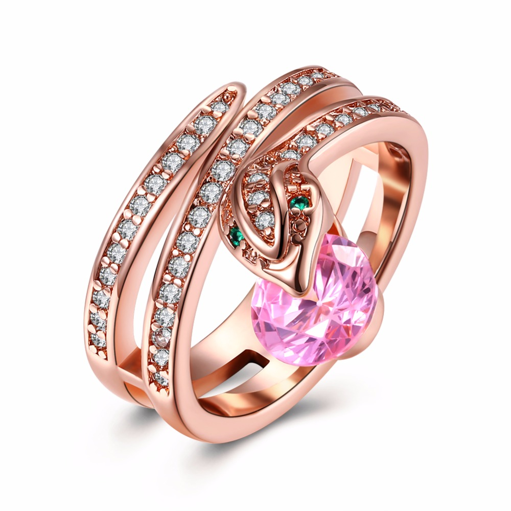 Rings Rose Gold original zircon logo marked Ouro anel #6 #7 #8 #9 ...
