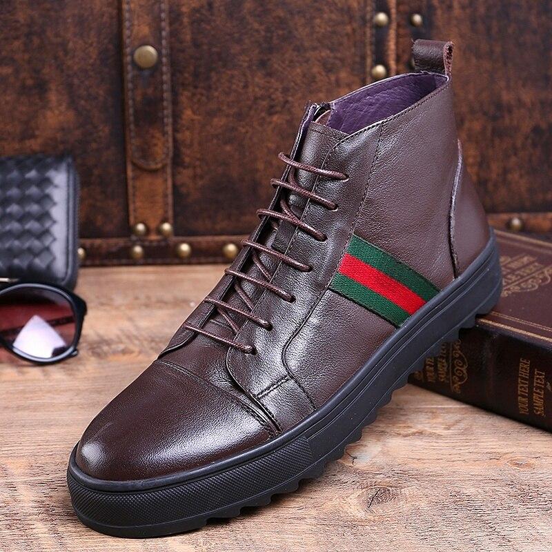Spitzen mode brown Rindspaltleder Winter Stiefel Herbst Werkzeug Luxus Schuhe Männer 2018 Black Knöchel Arbeiten up Mycolen Vintage 1XwRFnq
