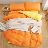 Winter New Style Double Color Orange Yellow 3 4 PCS Bedding Set King Queen Full Twin