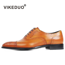 VIKEDUO 2019 New Full Brogue Handmade Oxford Shoes Mens Genuine Cow Leather Wedding Office Patina Dress Formal Footwear