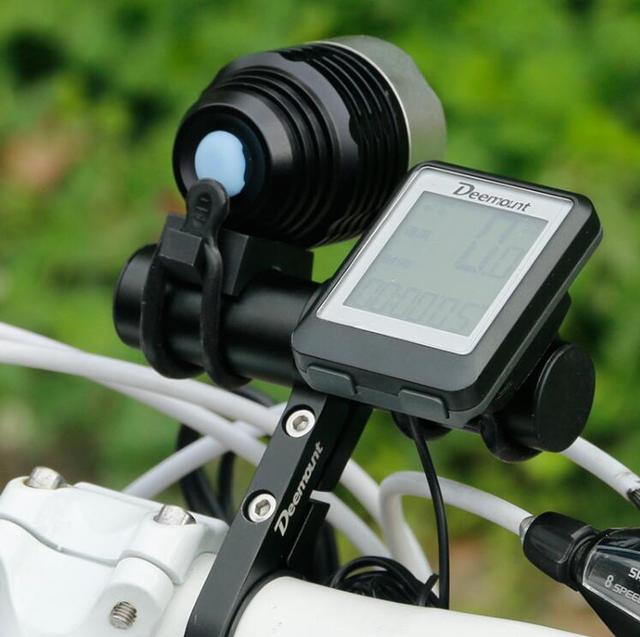 Deemount Bicycle Handlebar Extended Bracket Bike Headlight Mount Bar Computer Holder Lantern Lamp Support Rack Alloy Fiber Stand