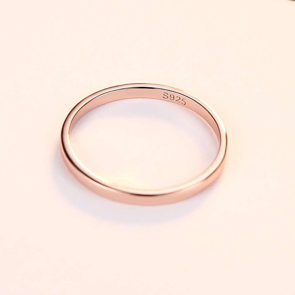 CZCITY ผู้หญิงแหวนเงินขัดแหวนแต่งงาน 925 เงินสเตอร์ลิงแหวนง่ายหมั้น Bague หญิง Rose Gold เครื่องประดับ
