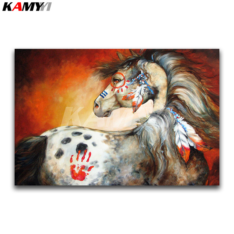 Full Square Diamond embroidery Cross stitch Feathers Full Round Diamond mosaic Indian War Pony DIY Diamond painting horse
