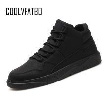COOLVFATBO Men vulcanize Shoes Winter Flat Shoes Warm Plush