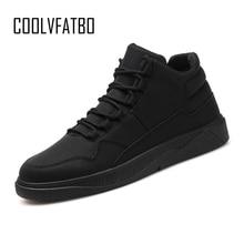 COOLVFATBO Men vulcanize Shoes Winter Flat Shoes Warm Plush